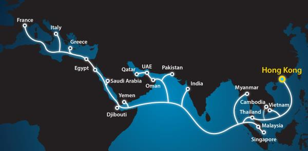 The submarine system is said to follow a route similar to the 'Silk Road Economic Belt'.