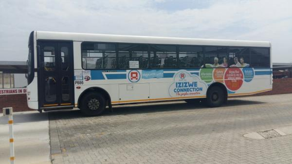 A bus in Algoa Bay, South Africa equipped with free on-board Wi-Fi.