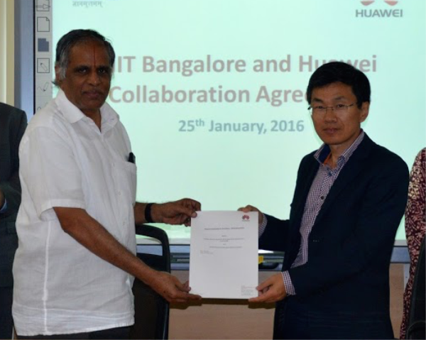 "Huawei Technologies India CEO William Zhao (right) says a large base of highly skilled youth can ""galvanise"" society's advancement. Also pictured is IIIT-B founder and director, Professor S. Sadagopan."
