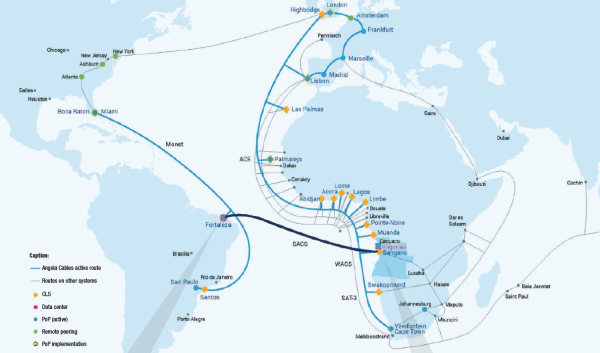Angola Cables says the South Atlantic Cable System offers the lowest latency between the Americas, Africa and Europe.