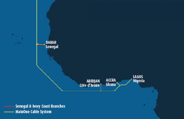MainOne's current system comprises a 7,000km submarine cable. It will work with Orange to build two new branches and stations to connect to Senegal and Côte d'Ivoire.