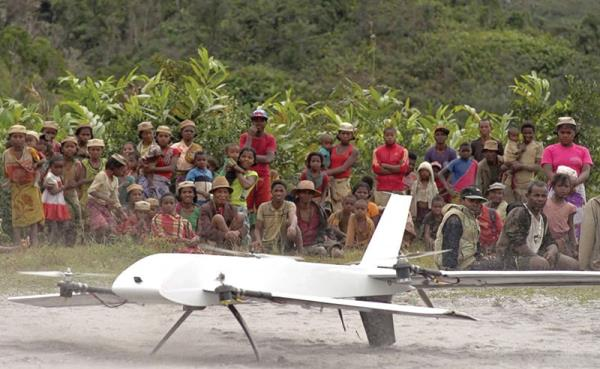 The machine flew from the central research facility and landed in the village and said health worker loaded it with real blood samples, before the drone flew back to the facility – photo: news.stonybrook.edu