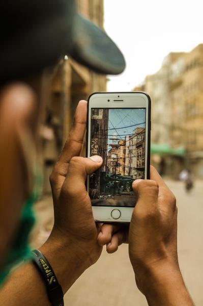A mobile phone user inKarachi